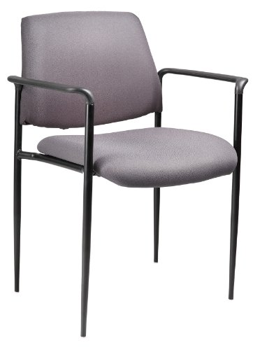Boss Office Products B9503-GY Square Back Fabric Dimond Stacking Chair with Arms in Grey