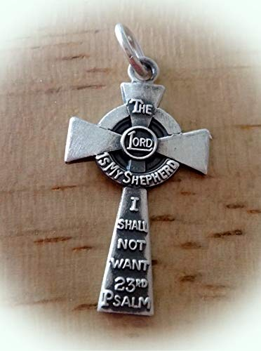 Sterling Silver 22x12mm 23rd Psalms Written on a Cross Charm Vintage Crafting Pendant Jewelry Making Supplies - DIY for Necklace Bracelet Accessories by CharmingSS ()