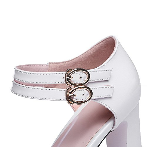 AllhqFashion Women's Peep Toe High-Heels Patent Leather Solid Buckle Sandals White p4wkgMU