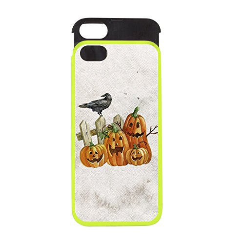 iPhone 5 or 5S Wallet Case Lime and Black Cute Halloween Pumpkins and Crow - Candy Apple Costumes Phone Number
