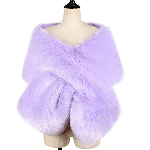 KAMA BRIDAL Women's Faux Fur Shawl Wraps Cloak Coat Sweater Cape Evening Party Purple -