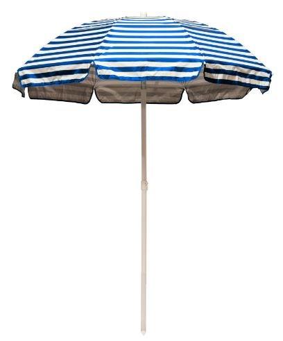 6' Striped Solar Reflective Beach Umbrella Fabric: Pacific Blue Stripe / Silver