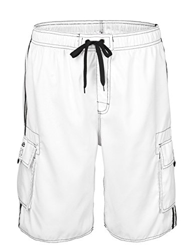 - NONWE Men's Beachwear Board Shorts Quick Dry with Mesh Lining Swim Trunks White 30