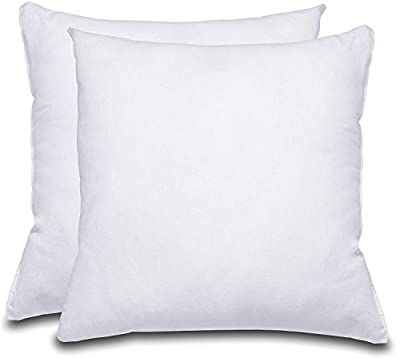 Decorative Pillow Insert (Pack of 2, White) - Square 18x18 Sofa and Bed Pillow - Microfiber Cover Indoor White Pillows by Utopia Bedding