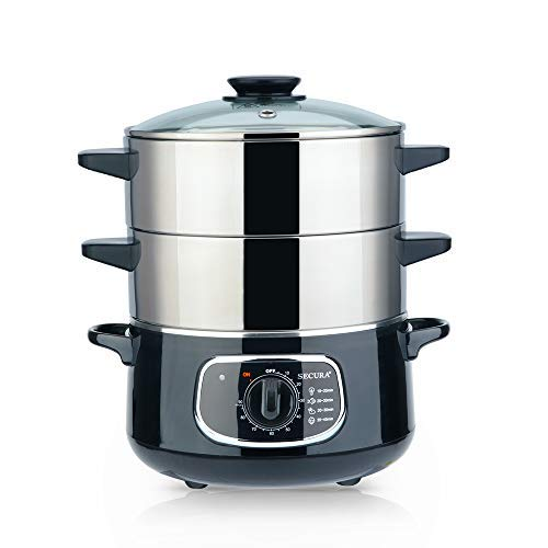 Secura 2-Tier Stainless Steel Food Steamer 8.5 Qt Electric Steamer with Glass Lid, Vegetable Steamer Double Tiered Stackable Baskets with Timer