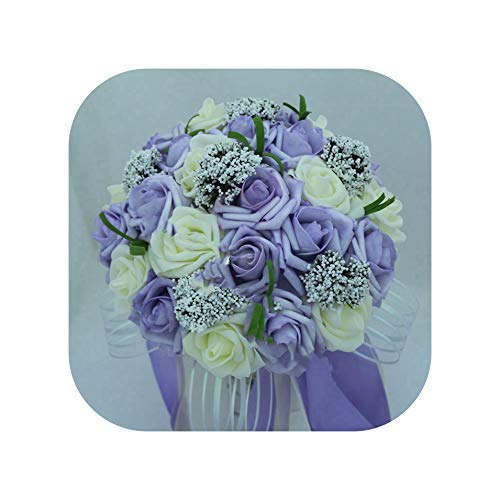 mamamoo Bouquets Artificial Flowers Wedding Romantic Wedding Brooch Bouquets Wedding Accessories,Photo - Flowers Brooch Amethyst