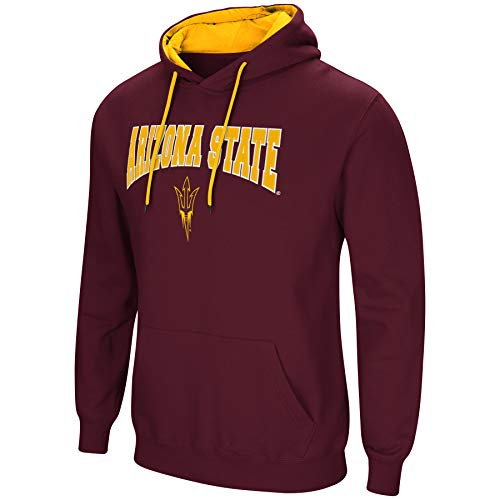 Colosseum NCAA Men's-Cold Streak-Hoody Pullover Sweatshirt with Tackle Twill-Arizona State Sun Devils-Maroon-Large