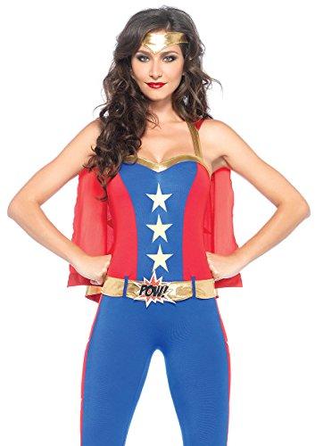Leg Avenue Women's 3 Piece Comic Book Super Hero Costume, Blue/Red, (Comic Book Superhero Costumes)