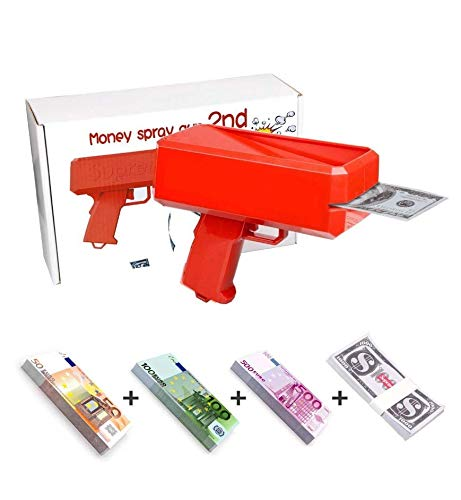 Make it Rain [Garantie à Vie] Pistolet à Billet Unique Euro / Dollar livré avec 300 Billets Euro (liasse DE 50€, 100€ et 500€) et 50 Billet Dollars