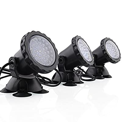 Deckey Garden Pool Aquarium 36-LED Waterproof Submersible Spotlight Landscape Lamp For Fountain Fish Pond Tank Water Garden(Pack of 3)