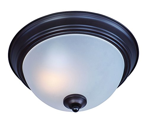 Maxim 85840FTOI Flush Mount EE 1-Light Flush Mount, Oil Rubbed Bronze Finish, Frosted Glass, GU24 Fluorescent Fluorescent Bulb , 60W Max., Dry Safety Rating, Standard Dimmable, Glass Shade Material, 1344 Rated Lumens - Fluorescent Bronze Finish