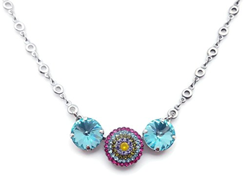 Mariana Cuba Swarovski Crystal Silvertone Necklace Aqua Yellow Fuchsia Green Starburst 333-1