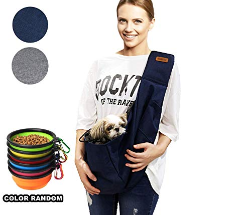 RETRO PUG Pet Sling Carrier Bag - Purse - Front Pack - Shoulder Strap Adjustable - Various Pocket - Dog Carriers for Small - Medium Dogs and Cats - for Travel - Free Silicone Bowl - Up to 15~20 lbs