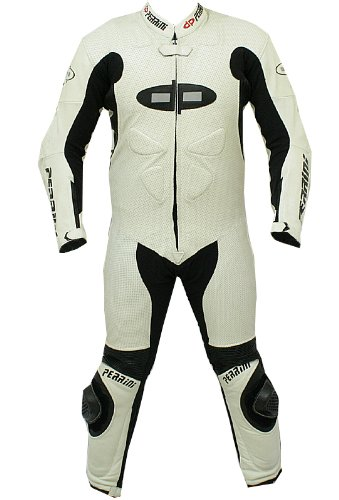 1pc Perrini Fusion Motorcycle Riding Racing Leather Suit w/ Padding & Hump White by PERRINI