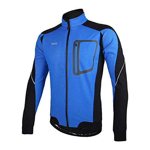 ARSUXEO Winter Thermal Fleece Cycling Jacket Windproof 14D Blue Size XX-Large