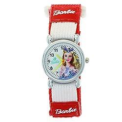 New arrive Girls Barbie Red Nylon Strap Velcro Analogue Quartz Cartoon Time-Teacher Watches