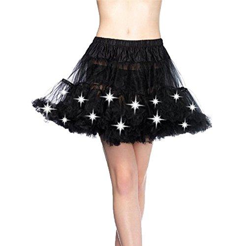 FOONEE Women Fashion LED Light Mesh Layered Dance Rave Tutu Skirts by FOONEE