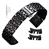 12mm Stainless Steel Watch Band Strap Black 14mm-22mm 20mm Metal Business Replacement Bracelet Curved End
