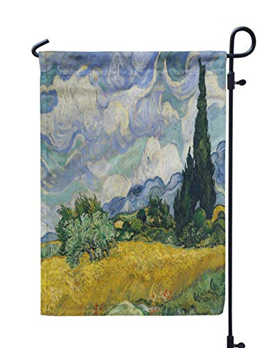 Soopat Painting Seasonal Flag, Wheat Field with Van Oil Canvas First and Air VanWeatherproof Double Stitched Outdoor Decorative Flags for Garden Yard 12''L x 18''W Welcome Garden Flag