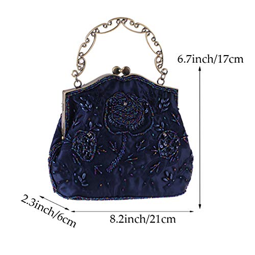 Purse Manual Evening Women Blue for YANXH Women's Bag Sequined Wedding Embroidery Clutch Beaded Handbag Vintage Roses Style Party and nT00CRxB