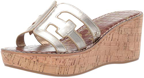 Sam Edelman Women's Regis Heeled Sandal, Jute Metallic Leather, 9.5 M US ()
