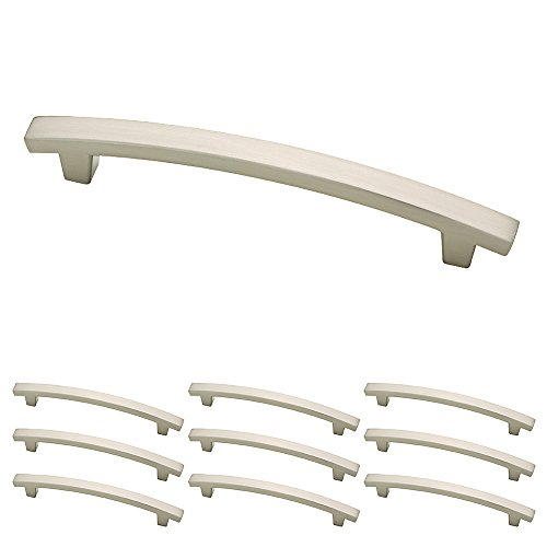 Franklin Brass P29616KSNB Pierce Kitchen or Furniture Cabinet Hardware Drawer Handle Pull 5 inch Satin Nickel 10 Pack