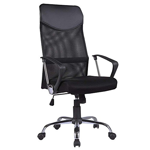 Mecor High Back Office Chair with Ergonomic PU Headrest and Armrests, Breathable Mesh Desk Chair Height Adjustable, 360 Degree Executive Swivel Chairs with Wheel Casters, Black by mecor
