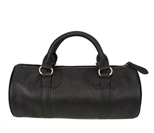 Exterior Bolsa al Principal Bolsa Desgaste aceitoso una Hombre y BAO shiny Durable Bolsa Cuero Black Resistente una black Bandolera Shiny de Oscura Bolso cilíndrico wpxPwqT0df