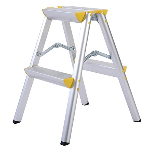 Giantex 2 Step Aluminum Ladder Folding Platform Work Stool 330 lbs Load Capacity Aluminum Platform Step Ladder
