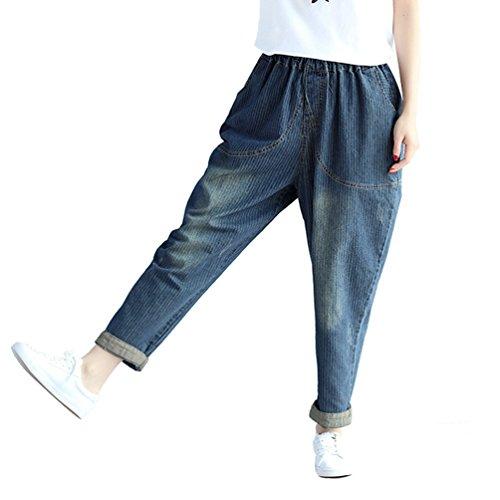 Denim Casual WanYang Elastica Baggy Jeans Dimensione Pantaloni Donne Blu Jeans Pantaloni Grande Vita xA6aw1xnBq