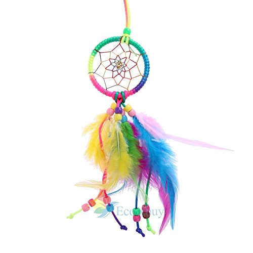 UNAKIM--Small Feather Handmade Dream Catcher Car Wall Door Hanging Decoration Ornaments (Lamp Bedroom Manchester United)