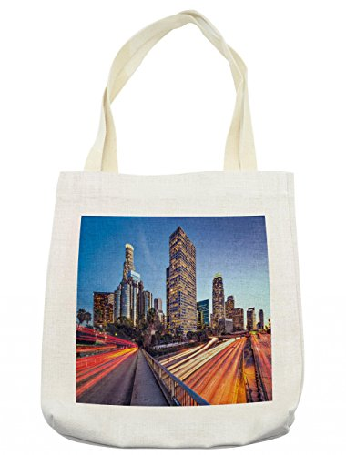 Lunarable American Tote Bag, USA Los Angels Famous Town Cityscape Business Center Urban Dawn Scenery, Cloth Linen Reusable Bag for Shopping Groceries Books Beach Travel & More, Cream ()
