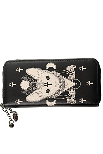 Banned Apparel Bastet Sphynx Cat Ankh Egyptian Cross Zip Around Black Wallet -