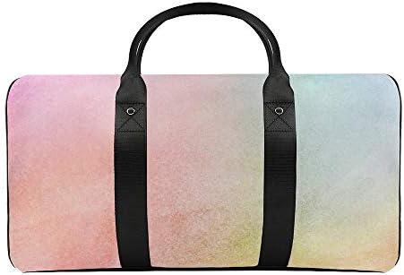 ボーナスパステルレインボー水彩画1 旅行バッグナイロンハンドバッグ大容量軽量多機能荷物ポーチフィットネスバッグユニセックス旅行ビジネス通勤旅行スーツケースポーチ収納バッグ