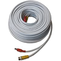 Nellys Security 100 High Quality Premade White CCTV RG59 Siamese Cable w/ Solid Copper Coax Core for HD CCTV Analog, CVI, TVI, AHD and SDI Security Cameras