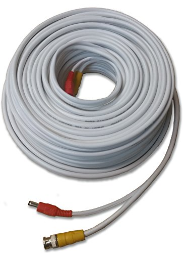 Nelly's Security 100' High Quality Premade White CCTV RG59 Siamese Cable w/ Solid Copper Coax Core for HD CCTV Analog, CVI, TVI, AHD and SDI Security (Barrell Connector)