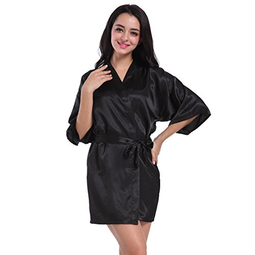SexyTown Women's Short Satin Lounge Robes Bridesmaids Charmeuse Lingerie (Charmeuse Maternity Bridesmaid Dress)