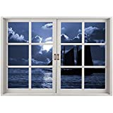 SCOCICI Peel and Stick Fabric Illusion 3D Wall Decal Photo Sticker/Pirate,Sail Boat on Sea at Dark Night Dramatic Sky Full Moon Unknown Waters Decorative,Black Violet Blue White/Wall Sticker Mural