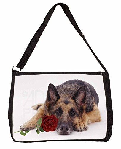 German Shepherd with Red Rose Large 16 Black School Laptop Shoulder Bag StTqq9n