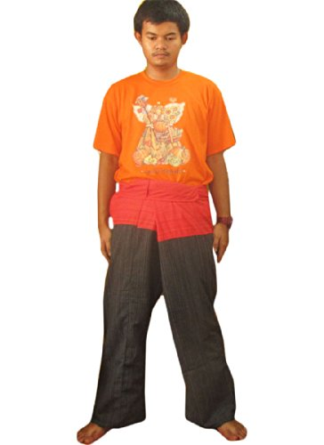 "Price comparison product image ""Welcome2Thailand"" 2 TONE Thai Fisherman Pants Yoga Trousers FREE SIZE Plus Size Cotton"