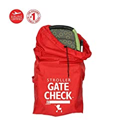 Use this handy, compact travel bag when gate checking a standard or double stroller to protect it from dirt and germs. The bright red color and large graphics easily identify your item for return to gate. Fits and covers most standard and dou...