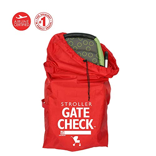 J.L. Childress Gate Check Bag for Standard and Double Strollers, Durable and Lightweight, Water-Resistant, Drawstring Closure with Adjustable Lock, Webbing Handle, Includes Stretch Zipper Pouch, Red