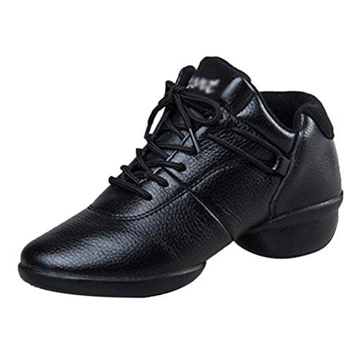 Sneaker Femmes Noir Modern De Jazz YouPue Sport Souples Chaussures De Danse Cuir Baskets Lacets Semelles 1wXnWwtqA
