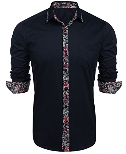 Paisley Fitted Shirt (Mens Western Cowboy Shirt Slim Fitted Dress Shirts Navy Blue XL)