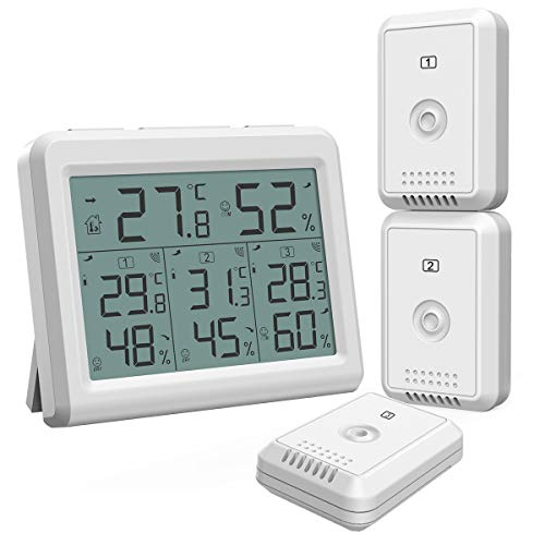 - AMIR (2019 New) Indoor Outdoor Thermometer, Temperature Humidity Monitor with 3 Wireless Sensors, Humidity Gauge with LCD Backlight, Room Thermometer Hygrometer for Home, Office, Baby Room