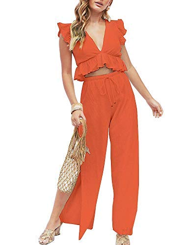 FANCYINN Womens 2 Pieces Outfits Deep V Neck Crop Top Side Slit Drawstring Wide Leg Pants Set Jumpsuits Orange M (Crop Pant Drawstring)