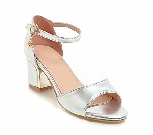 GLTER Women Peep Toe Sandals Summer New Patent Leather High Heels Buckle Ankle Strap Pumps Size 40-43 (Color : Silver, Size : (New Patent Leather Peep Toe)