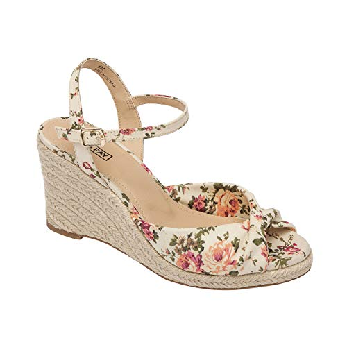 Pic & Pay VANNAH | Mid Height Wedge Espadrille with Knotted Upper Floral/White Canvas 8M ()