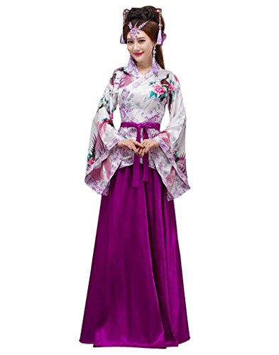 springcos Chinese Costumes Hanfu Peacock Women Halloween Fancy Party Dress (Chinese Lady Costume)