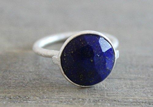 (Blue Lapis Lazuli Gemstone Sterling Silver Stacking Ring, size 9)